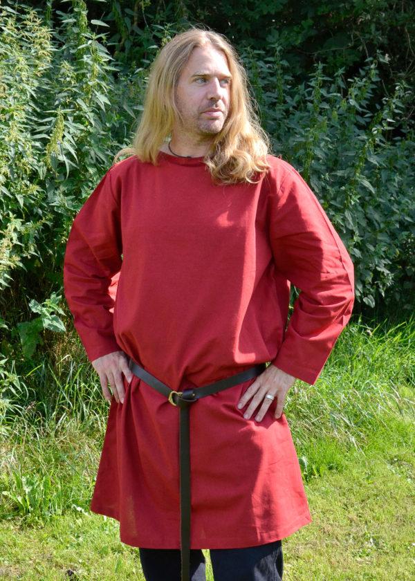 Tunique romaine rouge à manches longues