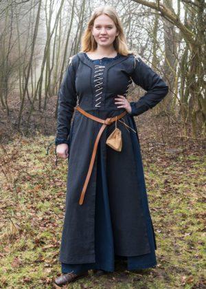robe médiévale paysanne bleue