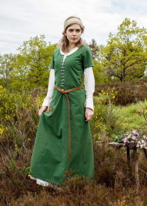 Cotehardie robe médiévale Ava manches courtes verte