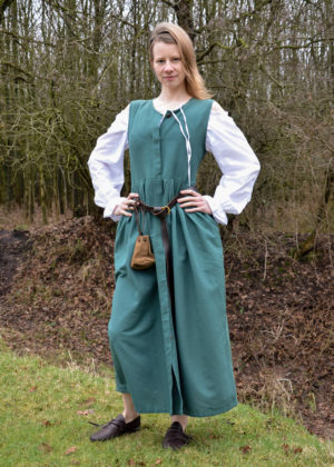 robe medievale paysanne coton vert